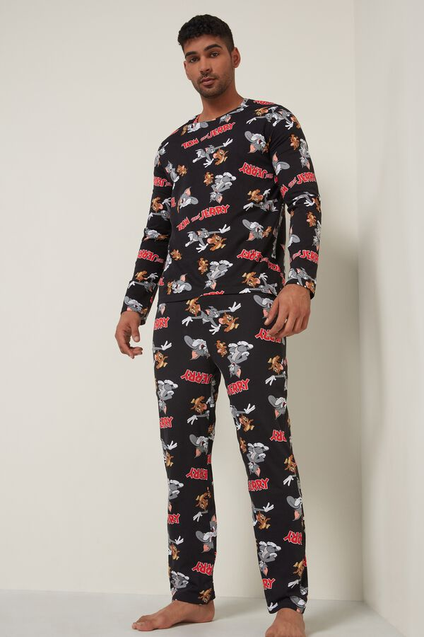 Men's Black Tom and Jerry Long Pyjamas