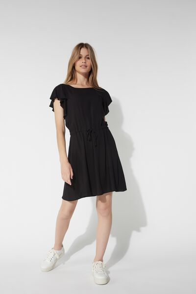 Short Canvas Dress with Ruffle Sleeves