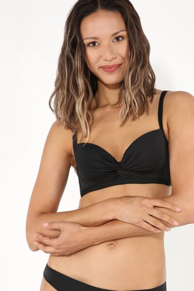 Plain Knot-Detail Balconette Bikini Top