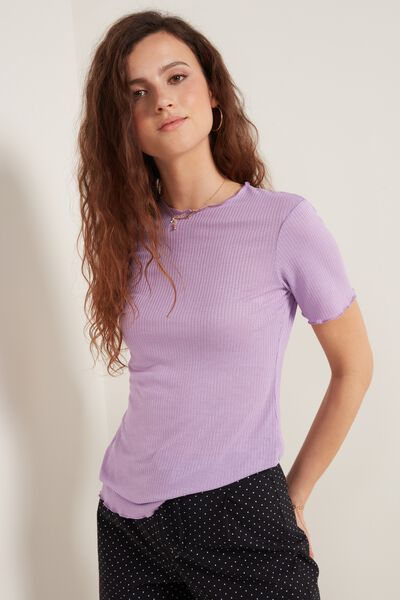 Ribbed Short Sleeve Top with Crater Neckline