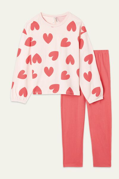 Girls' Heart Print Long Cotton Pyjamas