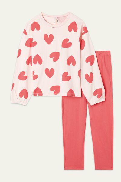 Pijama Comprido Menina Algodão Corações