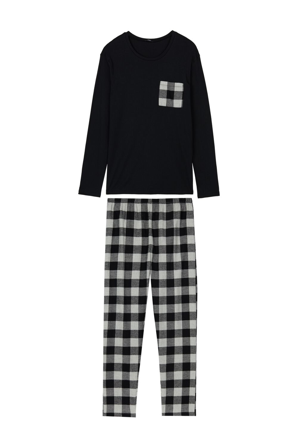 Men's Long Check Pajamas
