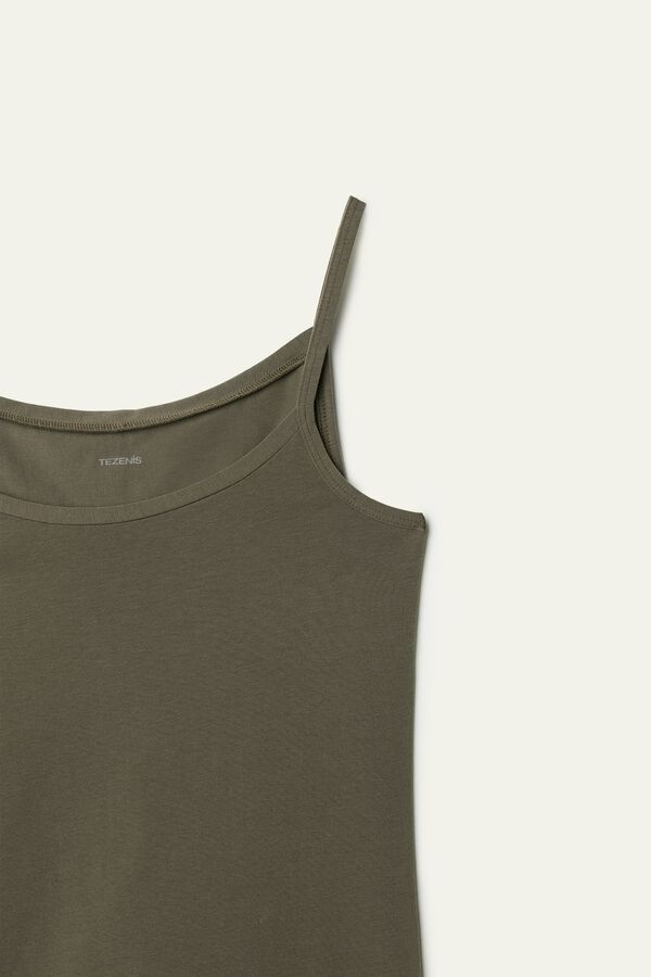 Round-Neck Stretch Cotton Tank Top