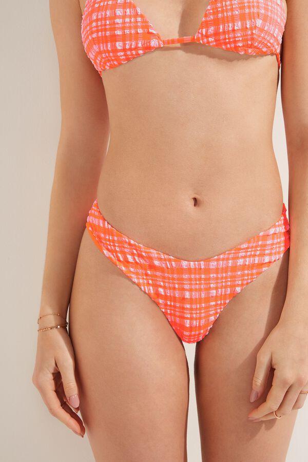 Madras 3D High-Leg Brazilian Bikini Bottoms