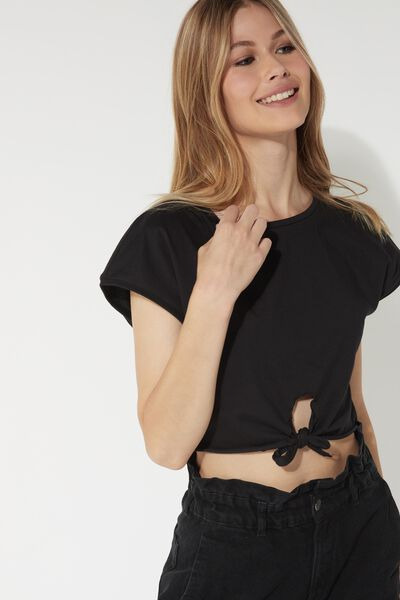 Cropped Cotton Top with Bow
