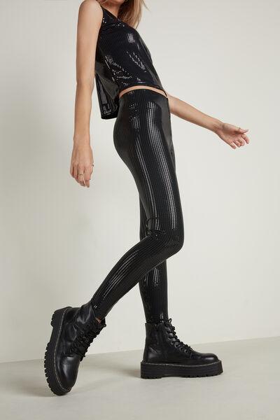 High-Waist Sequin Leggings