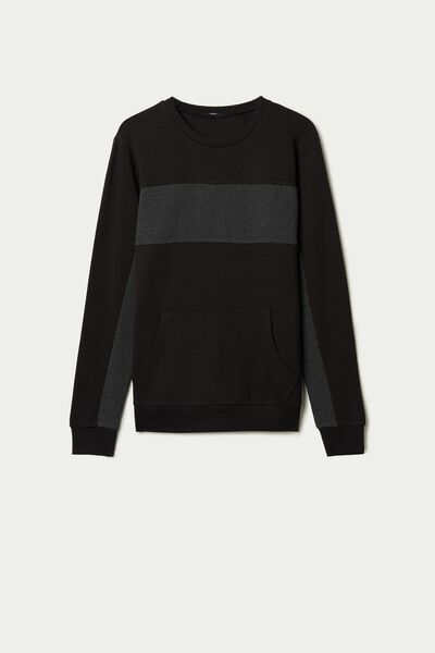 Sweatshirt aus zweifarbiger Baumwolle mit Tasche
