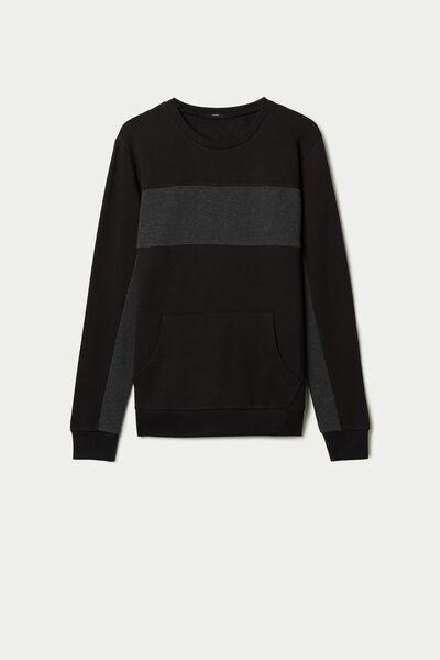 Two-Tone Cotton Sweatshirt with Pocket
