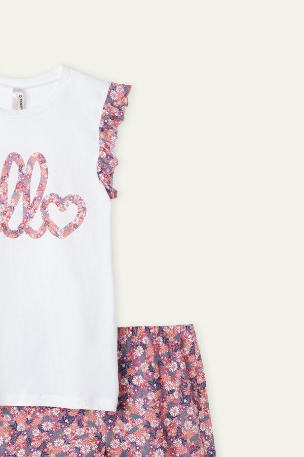 Girl's Short Summer Flower Print Pajamas with Ruffle