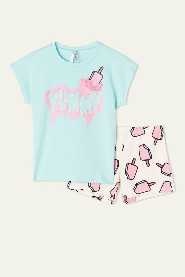 Girl's Short Ice Cream Print Pajamas