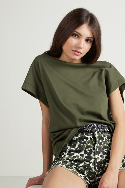 Kimono Sleeve Bateau Neck T-Shirt