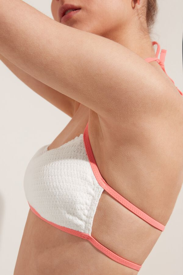 Crochet-Effect Cotton Brassiere Bikini Top with Ties