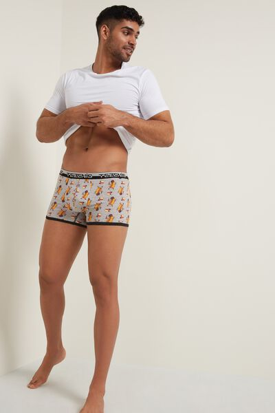 Printed Cotton Boxers with Elasticated Logo Waistband