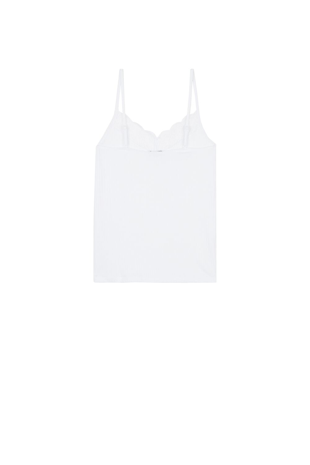 Ribbed Cotton and Lace Camisole