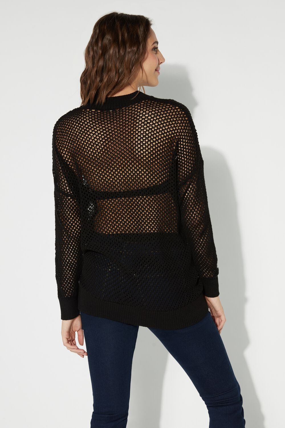 Long-Sleeved Fully-Fashioned Wide Mesh Top
