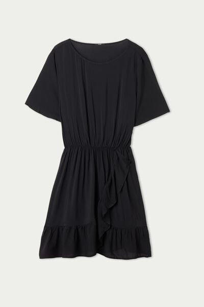Short-Sleeve Canvas Dress with Ruffles