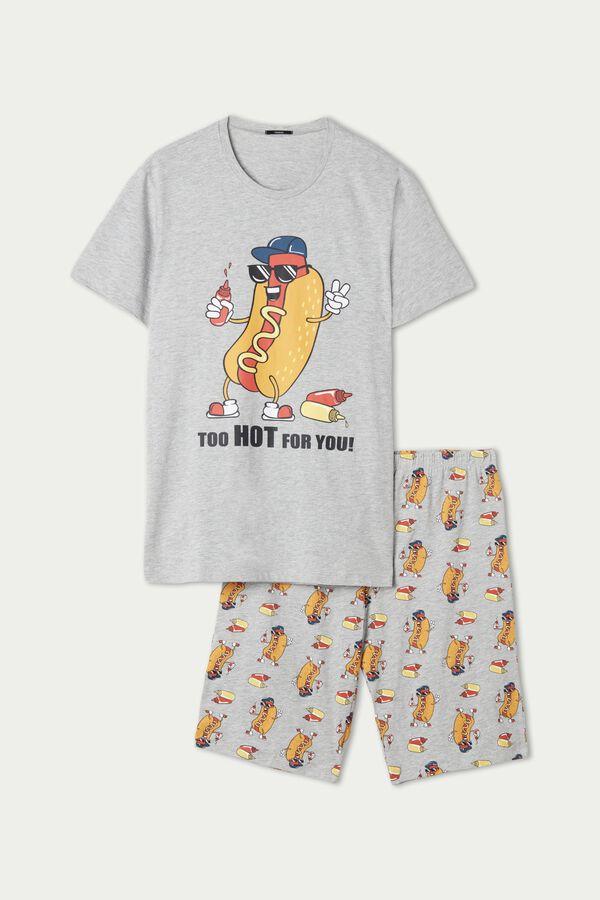 Krótka Piżama Męska z Bawełny z Nadrukiem Hot Dog