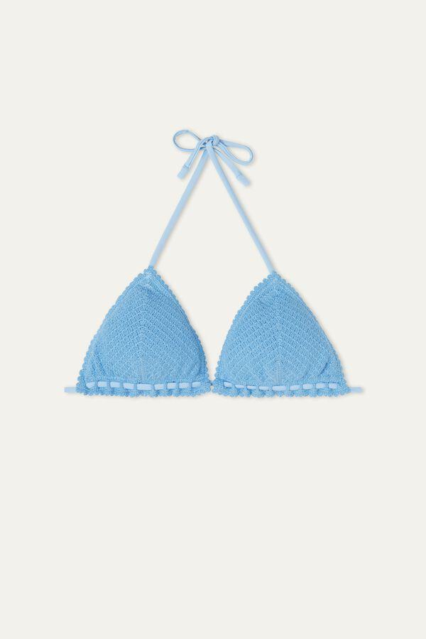 Bikini Triángulo de Algodón Crochet Azul