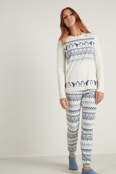 Nordic Penguin Print Long Cotton Pyjamas