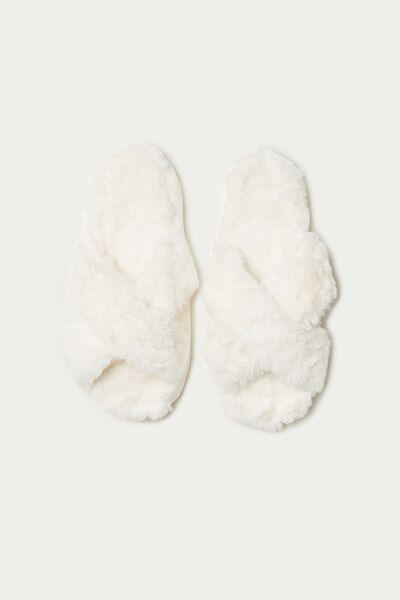 Fur Scuffs/Slippers with Cross