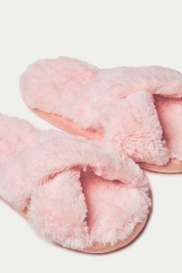 Ciabatte/Pantofole in Pelo con Incrocio