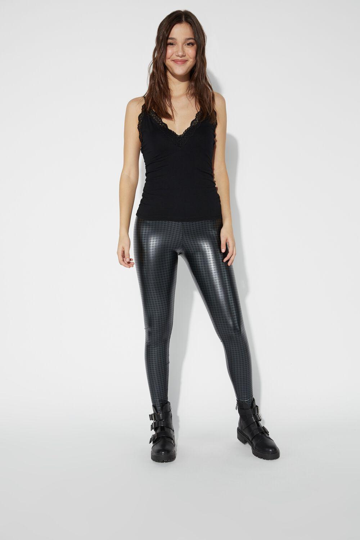 Printed Faux Leather Thermal Leggings