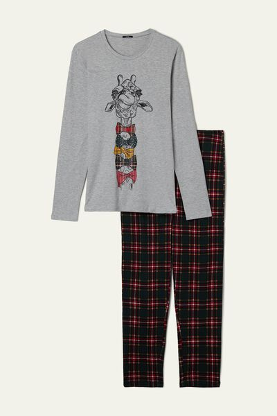 Men's Long Giraffe/Tartan Print Pyjamas