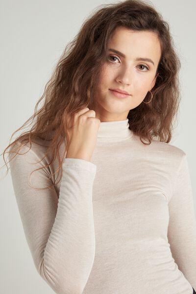 Hoch geschnittenes Shirt aus Wolle
