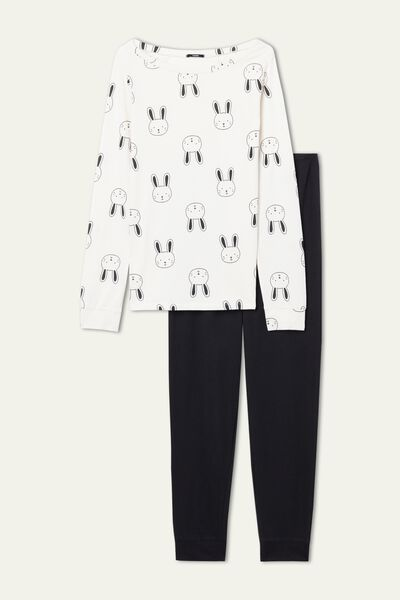 Bunny Print Long Cotton Pyjamas