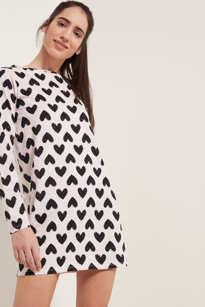 Heart Print Long-Sleeved Cotton Nightgown