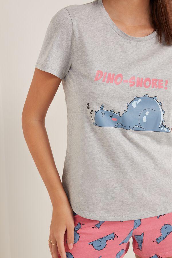 Short Cotton Pyjamas with Dinosaur Print