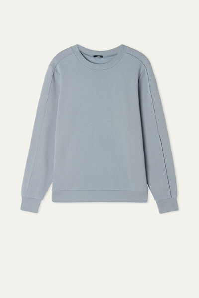 Rounded Neck Sweatshirt with Top Stitching