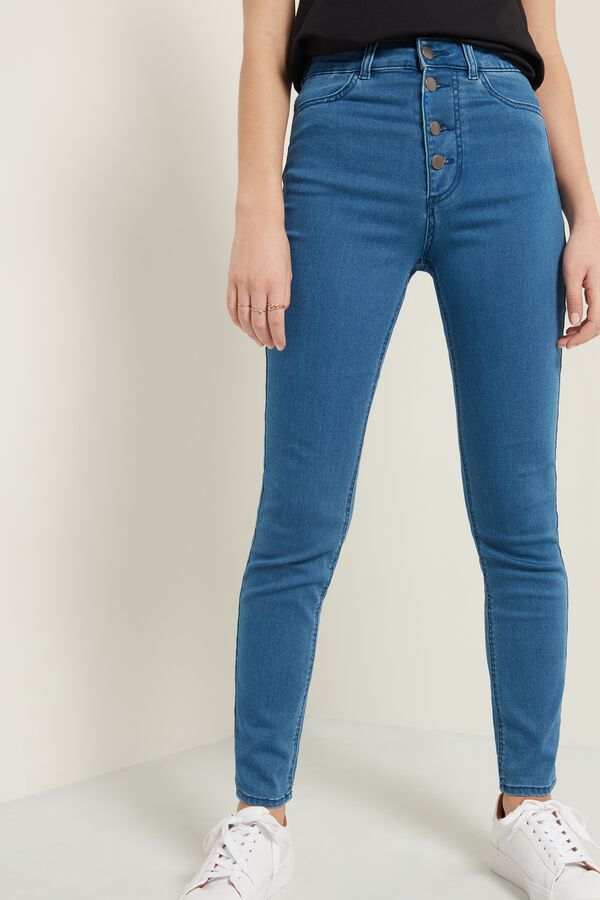 Skinny High-Waist Jeans with Buttons