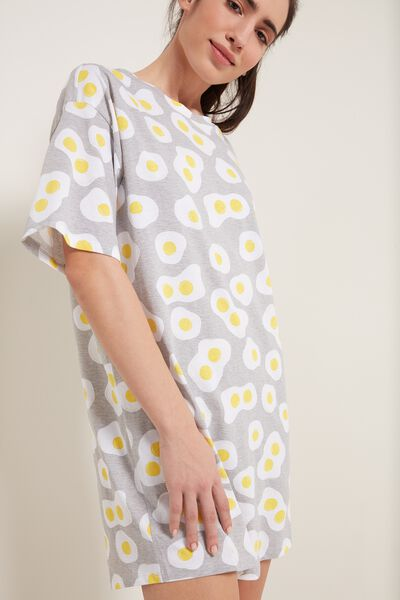 Half-Sleeve Cotton Nightgown with Egg Print