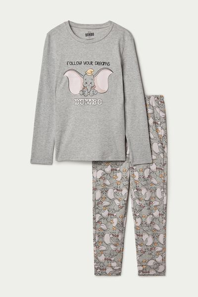 Girl's Disney Dumbo Long Cotton Pyjamas with Lettering