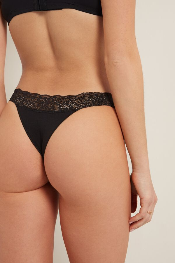 Cotton and Recycled Lace Brazilian Briefs