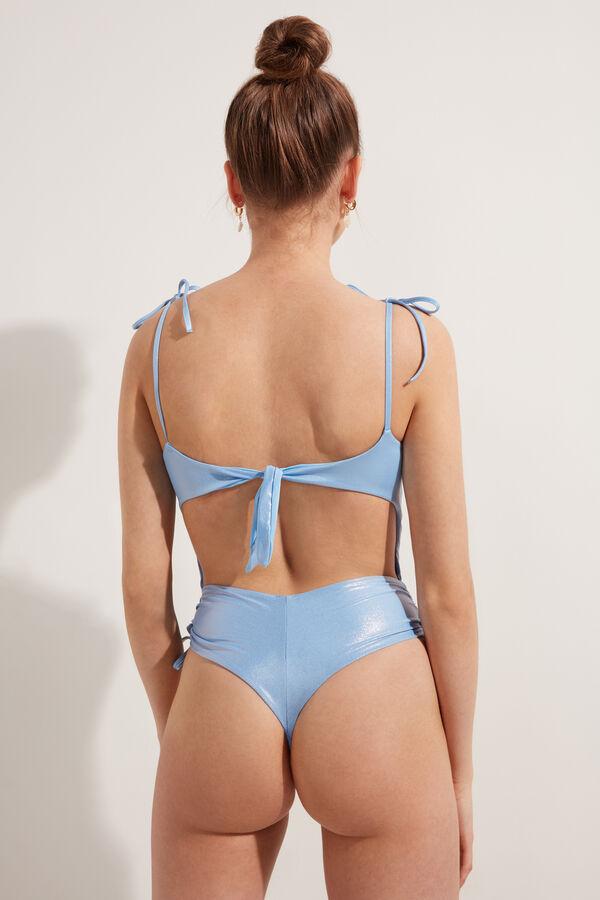 Shiny Swimsuit with Drawstring
