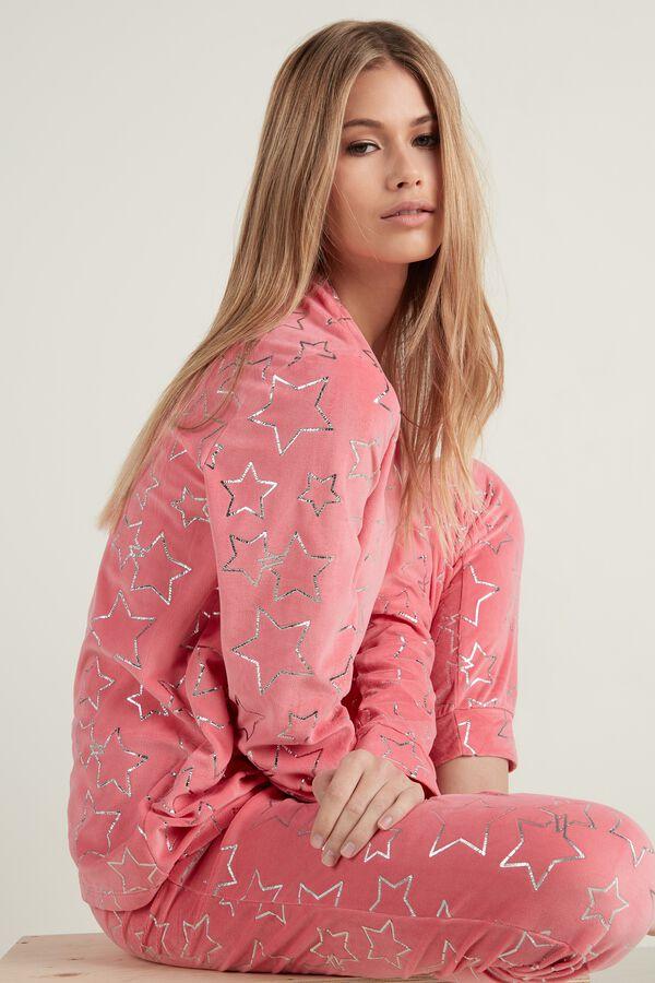 Langer Pyjama aus Mikrofleece mit Sternen-Folienprint