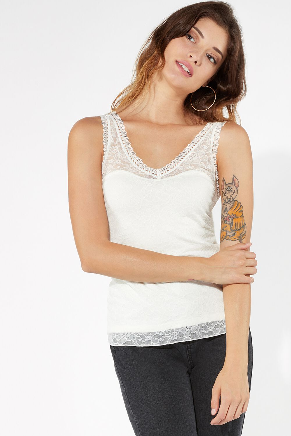 Vest Top in Bonded Lace