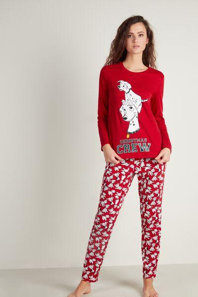 Dlouhé Červené Bavlněné Pyžamo s Disneyovskými 101 Dalmatiny