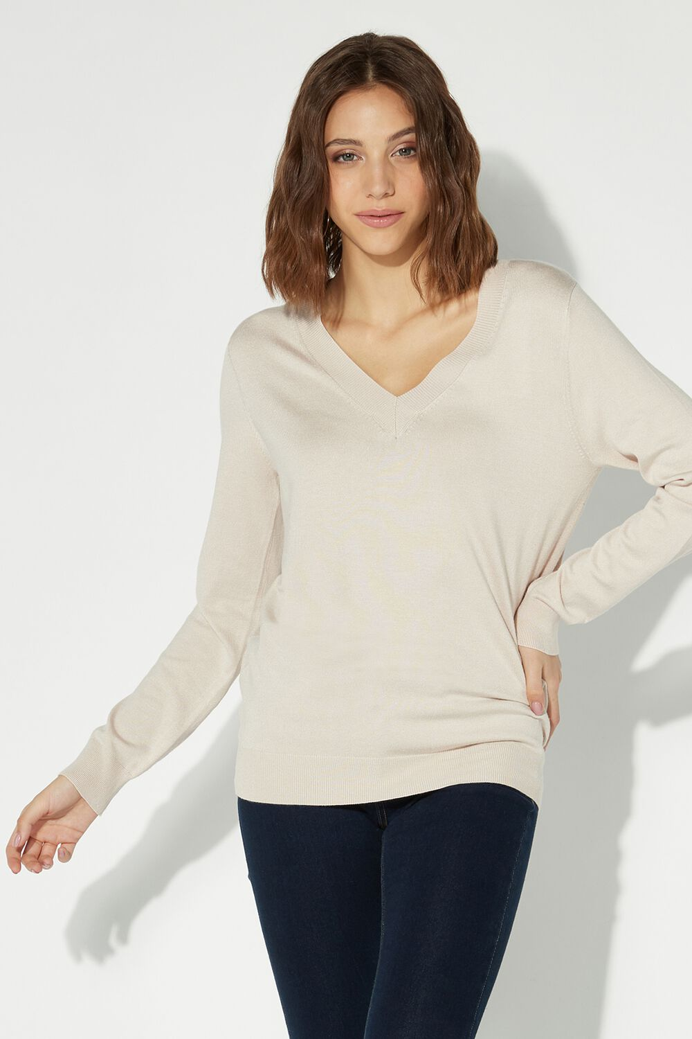 Long-Sleeved V-Neck Top