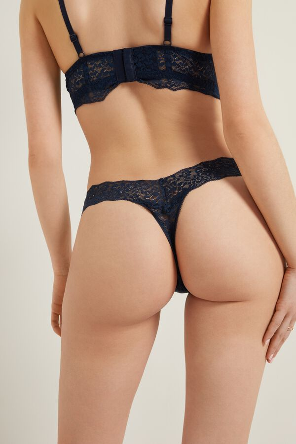 Recycled Lace High-Cut Thong