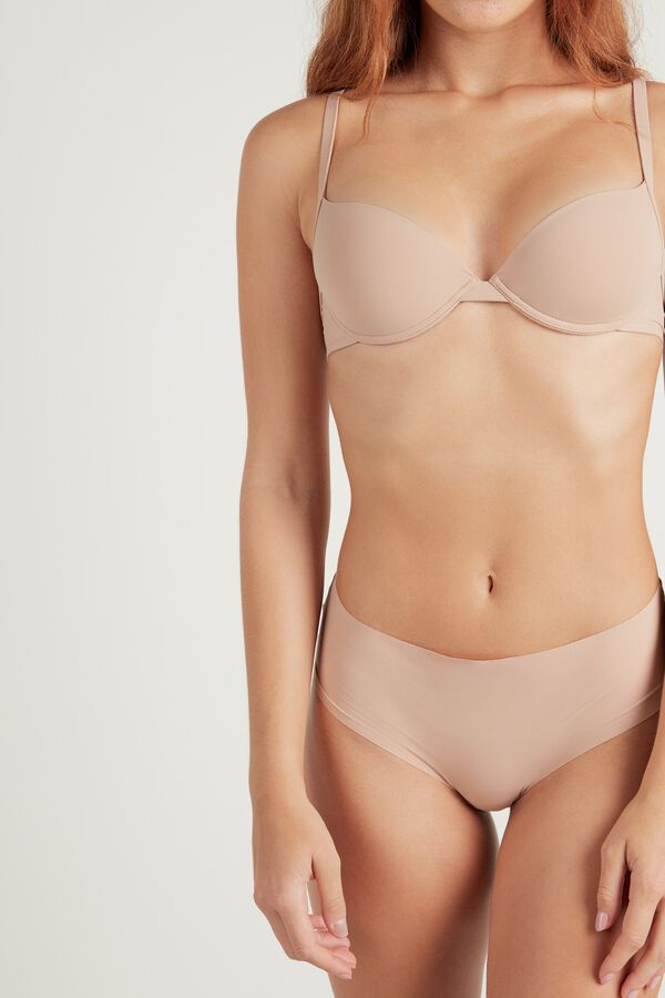 Raw-Edge Microfiber Cheeky Hipster with Lace Detail