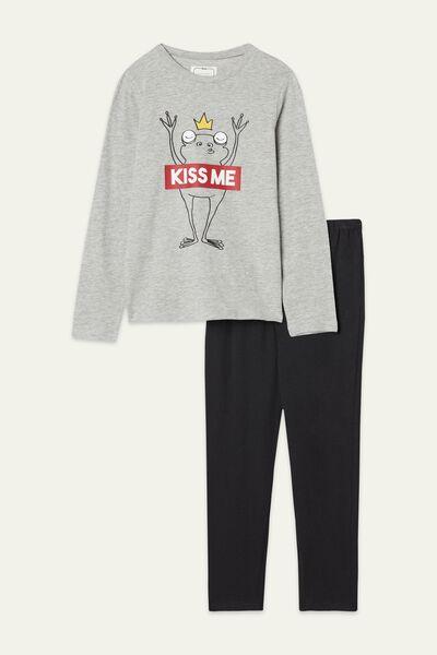 Pyjama Long en Coton Imprimé «Kiss me»