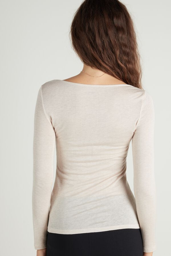Boat-Neck Top in Viscose and Merino Wool
