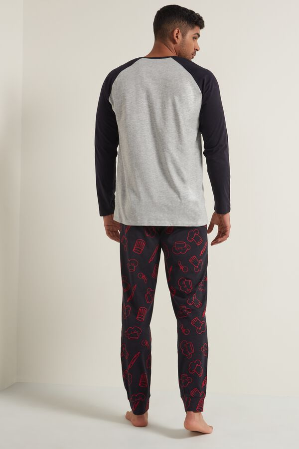 Men's Chef Print Long Cotton Pyjamas
