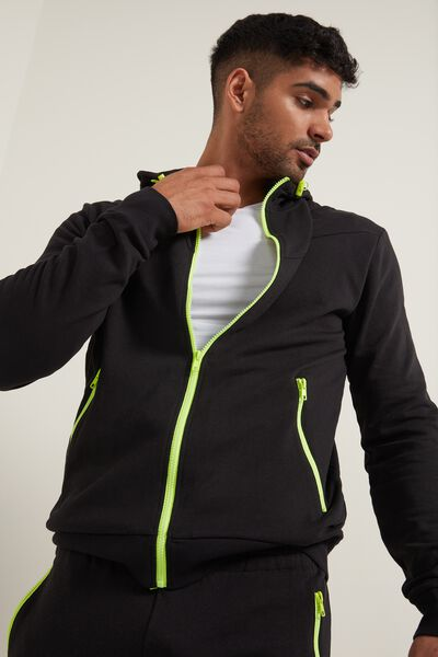 Hooded Sweatshirt with Contrasting-Color Zipper