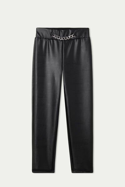 Coated-Effect Thermal Trousers with Chain