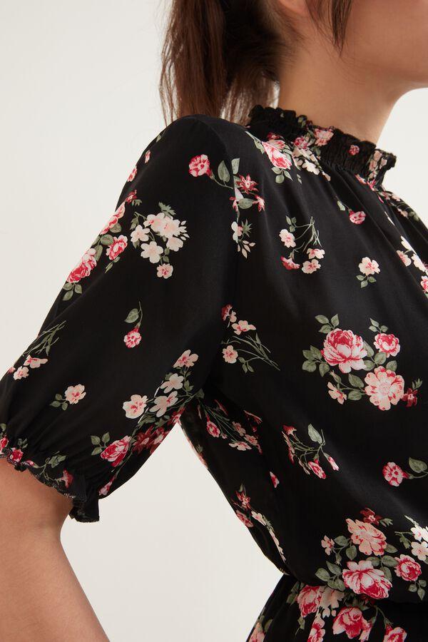 Rochie cu mânecă scurtă din pânză cu guler polo